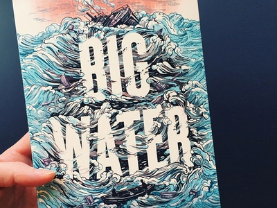 Big Water, Book Cover Illustration typography hand-lettering lettering pattern waves book art illustration book design book cover water