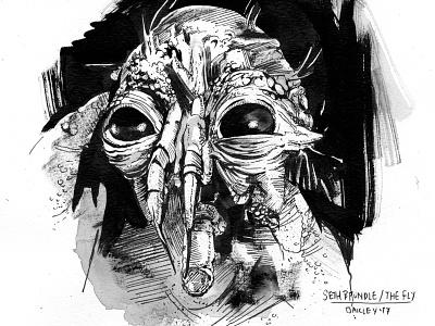 The Fly. Happy Birthday Cronenberg! cronenberg art dailydrawing drawing inking brundlefly jeffgoldblum thefly horrorfilms horror inktober illustration