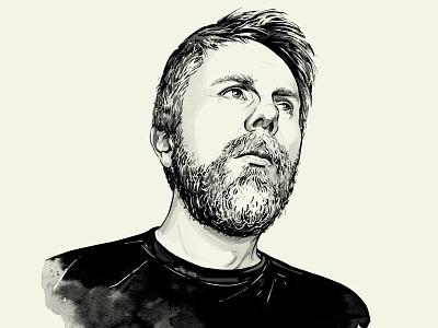 Simon Walker Portrait inking drawing illustration man beard black and white portrait ink