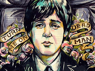 Paul Is Dead illustration illustrations portrait music beatles paul mccartney paint ink texture death conspiracy