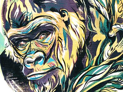 Gorilla illustration illustrations earth day endangered gorilla animal art acrylic ink