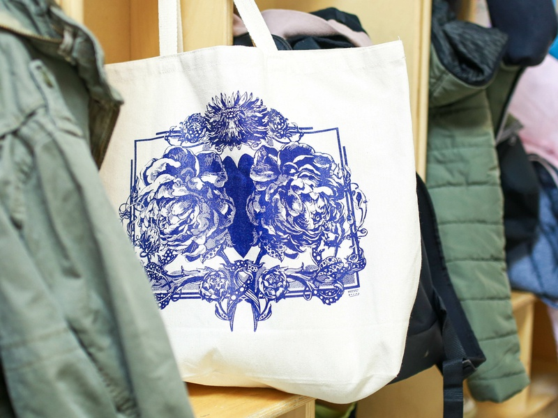Root to Bloom fundraising tote. canada first nations fundraising tote printing love silkscreen peonies peony flowers ink art illustrations illustration