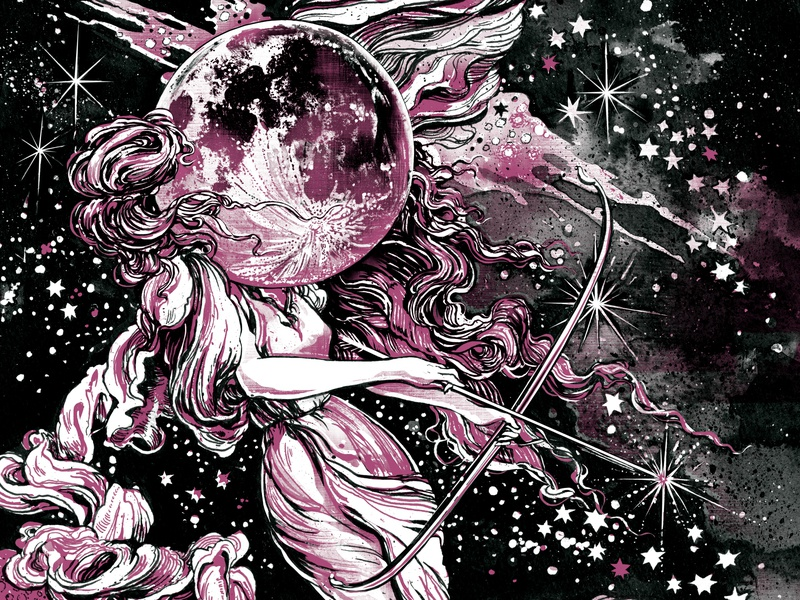 The Goddess Diana (Jules Verne Book) jules verne illustration ink book illustrations round the moon moon space stars mythology art archery diana goddess