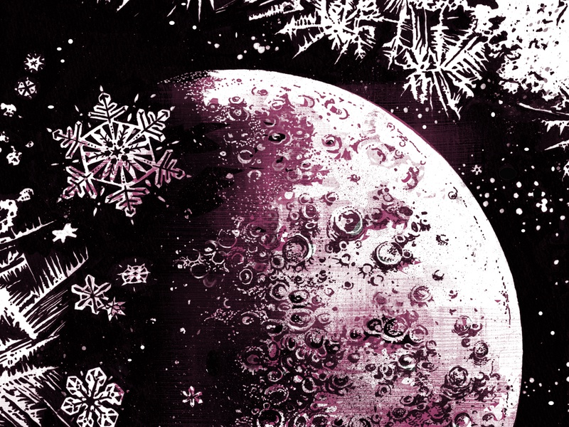 Ice Moon snow ice space moon book illustration scifi jules verne art ink illustrations illustration