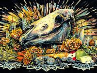 Day of the Dead - Horse Skull Altar