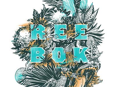 Reebok T-Shirt Design apparel design apparel animals floral lettering art lettering illustration t-shirt design t-shirt graphic t-shirt