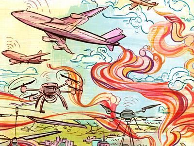 Friendly Drones illustration illustrations art digital ink texture air clouds planes