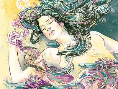 Circadian Rhythms sun sea water flowers magazine illustration sleep art editorial ink illustration