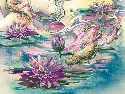 Circadian Rhythms: Calm Waters editorial art editorial illustration magazine illustration waterlilies koi water flowers editorial art illustrations illustration