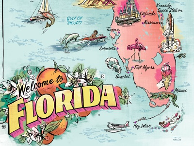 Florida Map art postcard vintage handlettering typography lettering flowers usa florida maps map illustration
