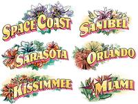 Miami, Orlando, Sarasota.... postcards vintage typography typography art type magazine painting lettering editorial illustrations illustration florida