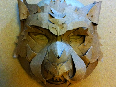 Winter is Coming - Wolf Mask art wolf paper cardboard animal sculpture wip halloween