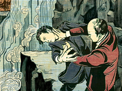 Moriarty & Sherlock Fight at Waterfall's Edge sherlock illustration illustrations art book classic mystery fight water amazon