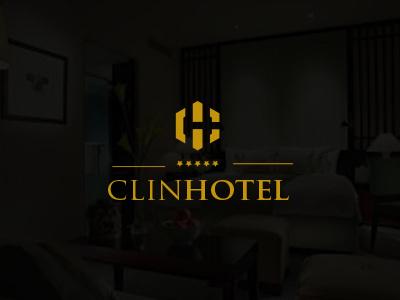 Clin Hotel logo design typography branding letters