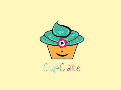 Cupcake bakery brand cake handmade logo