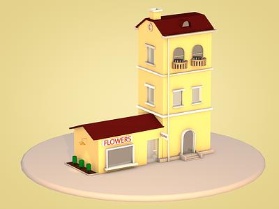 Flower shop & Apartment happy modeling creative dribble 3d artist architecture design cinema 4d 3d modelling 3d art