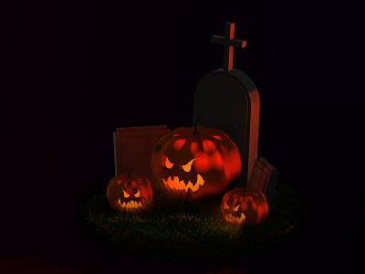 Spooky Halloween Pumpkins creative render 3d artist 3d art modeling horror halloween 3d modelling cinema 4d