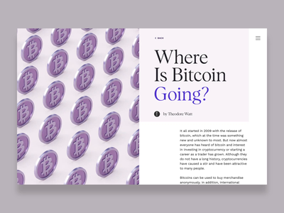 Where is Bitcoin going? after effects typogaphy editorial landing page 3d web design interaction animation website cinema 4d c4d