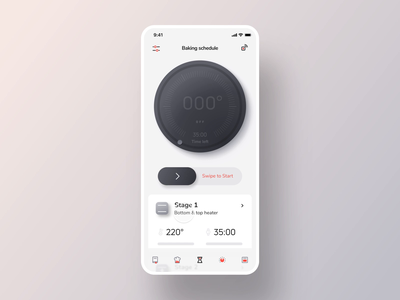 Smar Oven App animation interface kitchenware mobile smart home cooking ui interaction design app