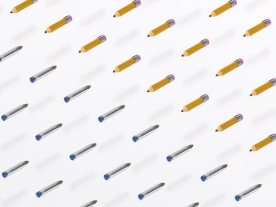 Pencils vs. Pens cinama 4d pattern pen pencil isometric 3d
