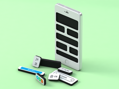 Empty State illustration blog cell phone cinema 4d low poly