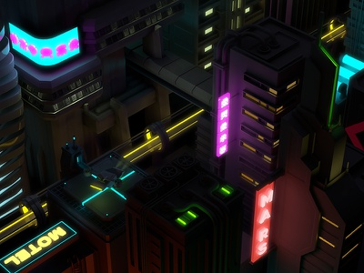 Neon City isometric isometry 3d night city c4d neons cinema4d low poly cyperpunk sci-fi