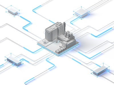 Smart factory - Industry 4.0 digital smart industry factory low-poly isometric illustration cinema 4d c4d low poly