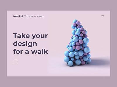 Walking Agency - concept design 3d cinema 4d animation website design transition interaction webdesign website c4d