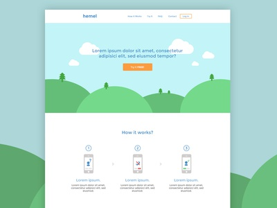 Hemel clean minimal white flat onepage singlepage hemel concept app site