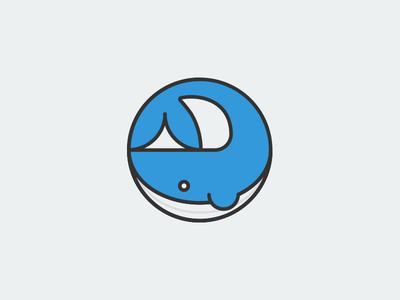 Whale Icon illustration blu minimal whale logo icon