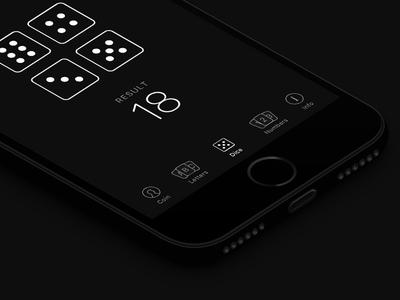 RandoMe card coin numbers iphone app ios minimal dice black
