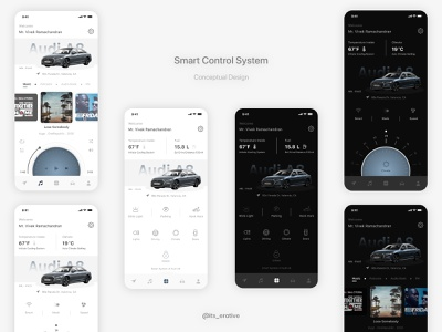 Car Smart Control System - Conceptual Design user interface ux research daily ui dashboard design typography smart car car app app designer interaction interaction design ux uiux ui smart remote car ui mobile app design app ux design ui design