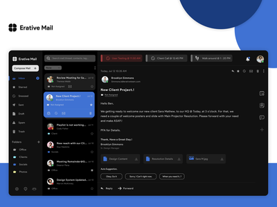 Email Client App product design redesign gmail cards ui mail email client interaction design design ux design ui design web design web email template email design email