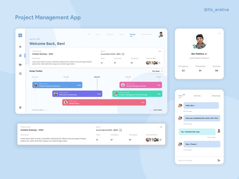 Project Management App web app manager task manager tracking task ui design ux web design app design design product design ux design interaction design projects app project project management