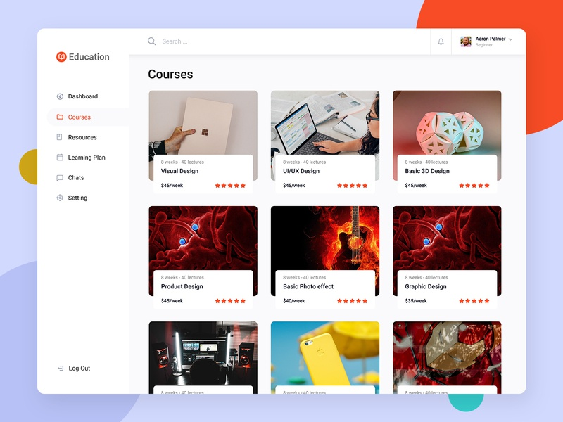 eLearning Courses Dashboard dribble shot illustration art typogaphy daily challange dashboard template vector typography uiux visualization minimal minimalist illustration elearning courses elearning education dashboard ui dashboard adobe xd templates daily ui adobe xd
