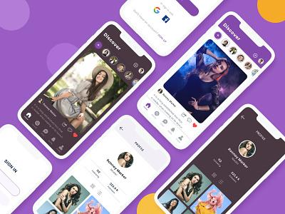 Social App UI social profile shot 2020 dribble best shot social platform chating instragram sketch social app social media social ui ux daily ui illustration visualization typography mobile ui application design minimalist minimal adobe xd