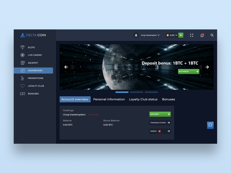 Delta Coin dark dark ui deposit bonus club loyalty information personal overview account coin delta casino bitcoin btc ui design interface ux uiux ui
