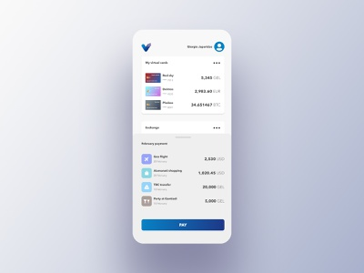 vpay online ux ui aiamanati goa tbc tbilisi georgia dribbble btc euro usd crypto wallet digital payment virtual card pay virtual