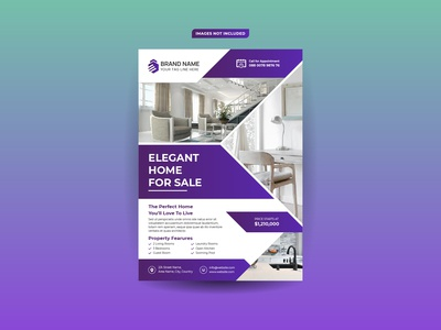 Elegant real estate sale flyer design template