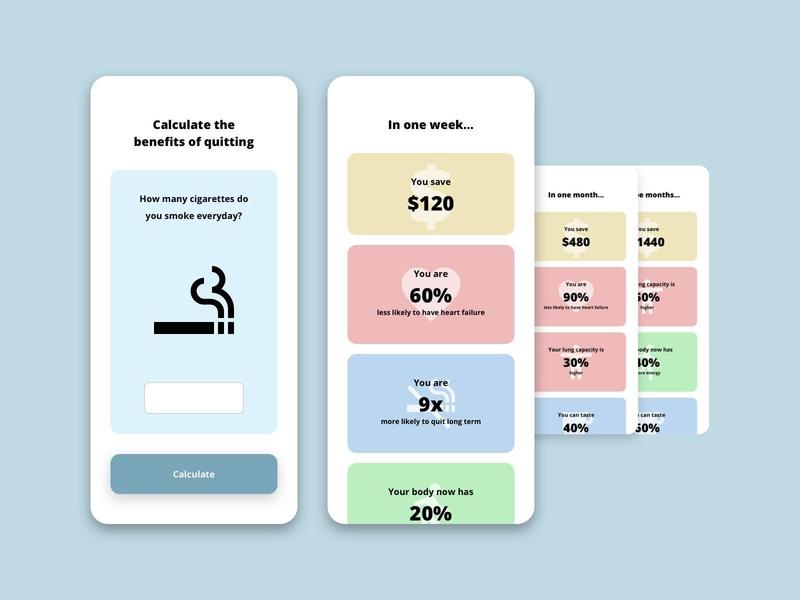 DailyUI#004 Calculator mobile savings minimalistic design simple calculator smoking dailyui 004 ui dailyui