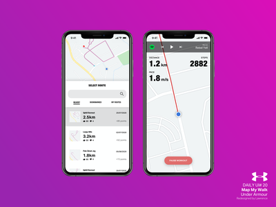 DailyUI#020 Location Tracker dailyuichallenge dailyui 020 location tracker location app gps tracker walking under armour exercise app sport redesign ui dailyui