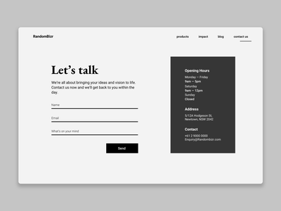 DailyUI#028 Contact Us simple monochrome form contact dailyuichallenge ux ui dailyui