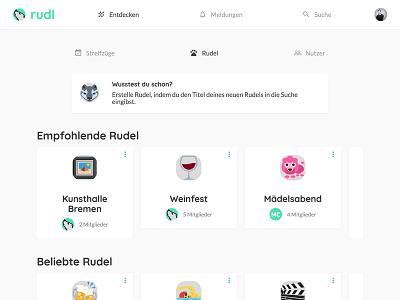 Explore page social network material design flat design masterthesis community cards minimal dashboard explore