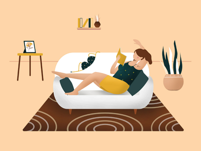 No Bra Don't Care dribbble shot of the day stay safe pattern texture colour palette colours shorts pjs couch reading books character woman plant design inspiration design 2d illustration quarantine bra
