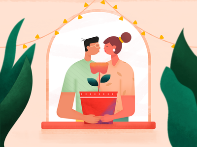 Growing together cute kiss couple holiday happy man woman illustrator affinity texture dribbble best shot rebound love story home window plant illustration illustration growth love