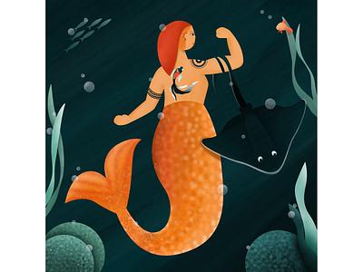 Badass Mermay hair girl freelance illustrator 2d ariel fish punk badass underwater texture illustration coral tattoo nemo stingray character illustration nymph woman mermaid mermay