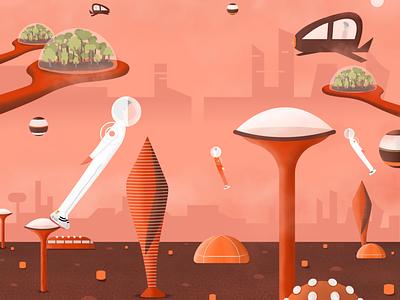 Future on Mars cyberpunk scifi 2d vector space travel future london academy designing future futuristic spaceship astronaut apollo concept art martian design dome texture illustration space future mars