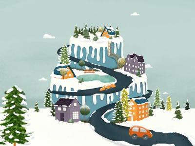 Cake Valley wonderland holiday texture icing outdoors winter landscape 2d vector plant illustration trees hills illustration nature baking dessert snow valley mountain cake