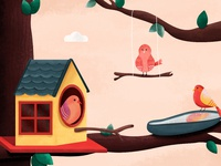 Bird Talk house editorial inspiration children book childrens illustration wings texture design nature freelance illustrator bird illustration bird house bird colours 2d illustration