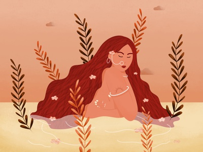 Peaceful woman character river swimming bathing naked alone indian curly hair red hair vector 2d illustration pretty beautiful tattoo water lady character design peaceful woman